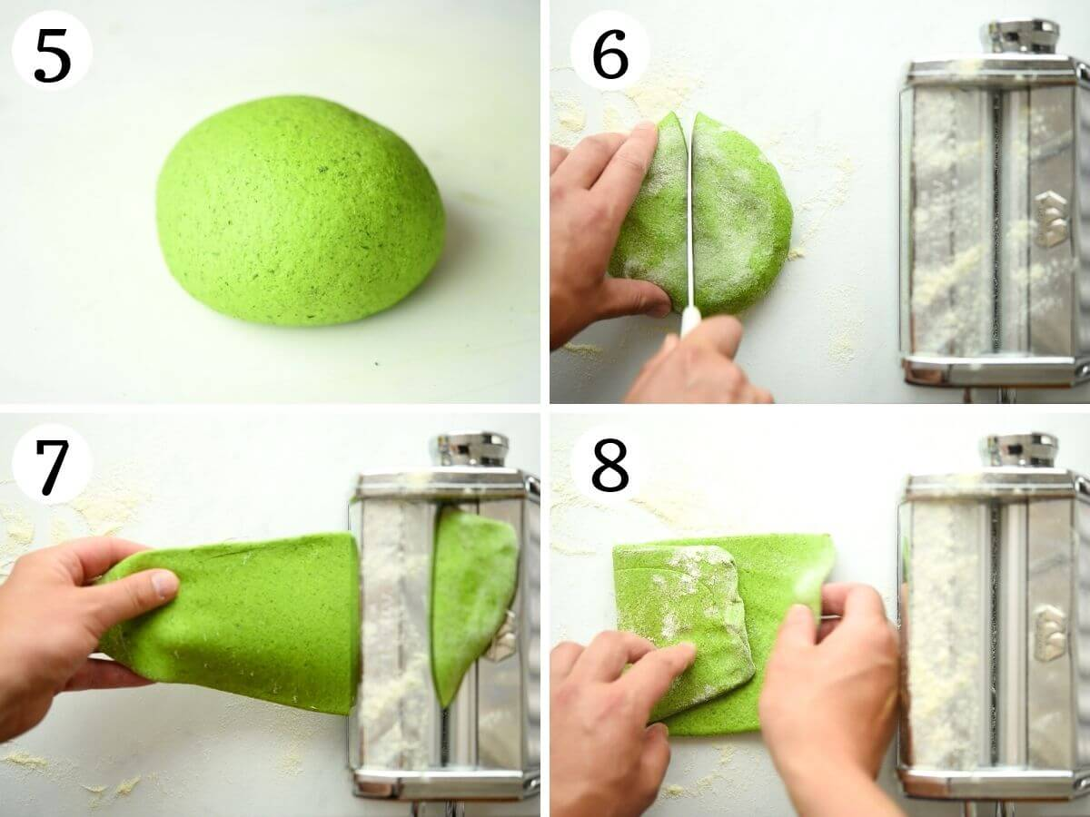 Step by step photos showing how to knead pasta dough and get it ready for rolling