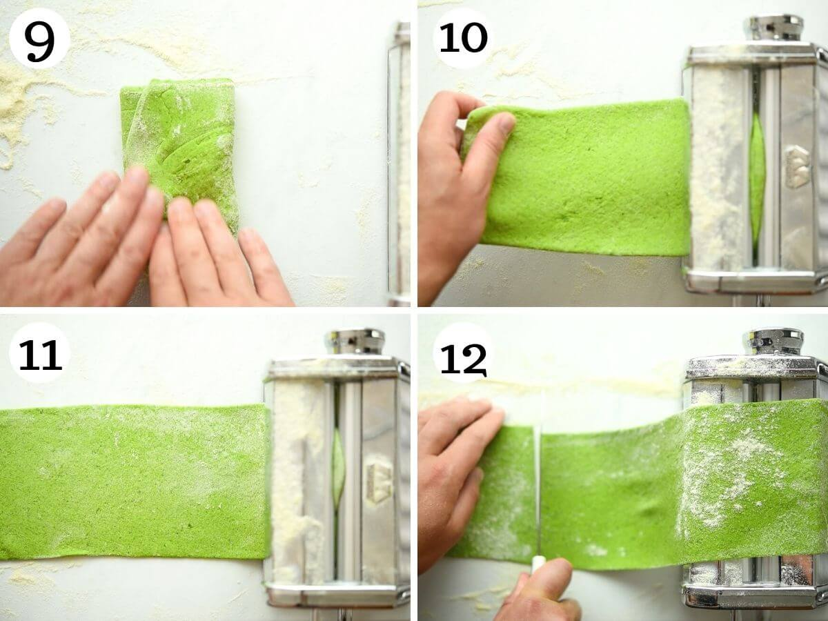 Step by step photos showing how to make spinach pasta dough in a pasta machine