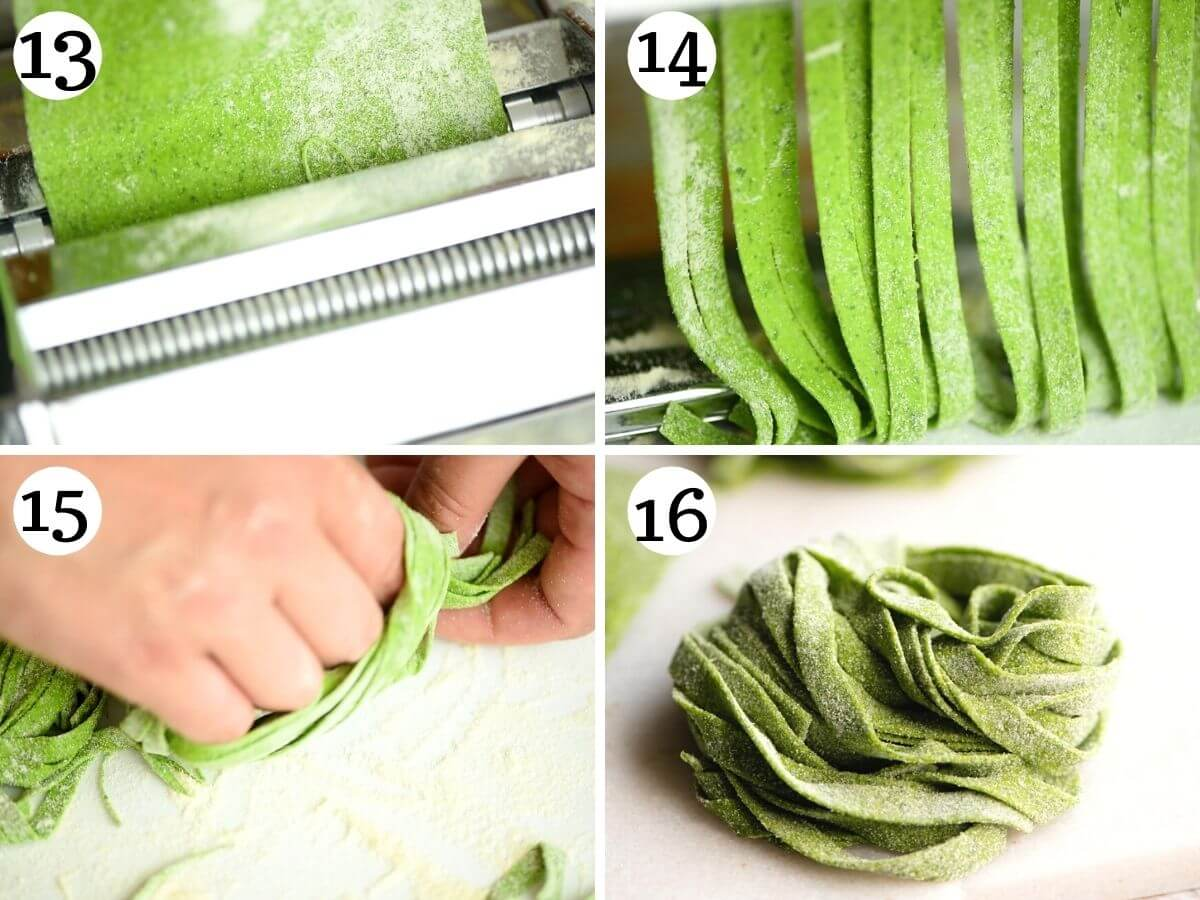 Step by step photos showing how to make spinach pasta tagliatelle