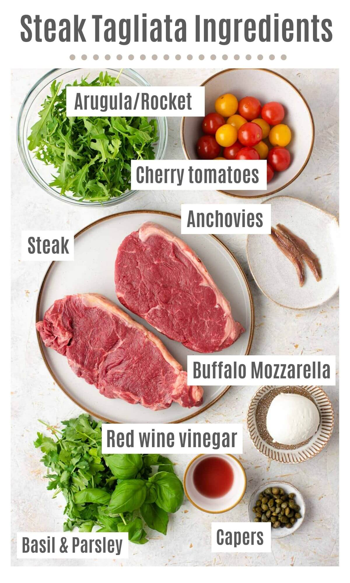 An overhead of all the ingredients you need to make steak tagliata