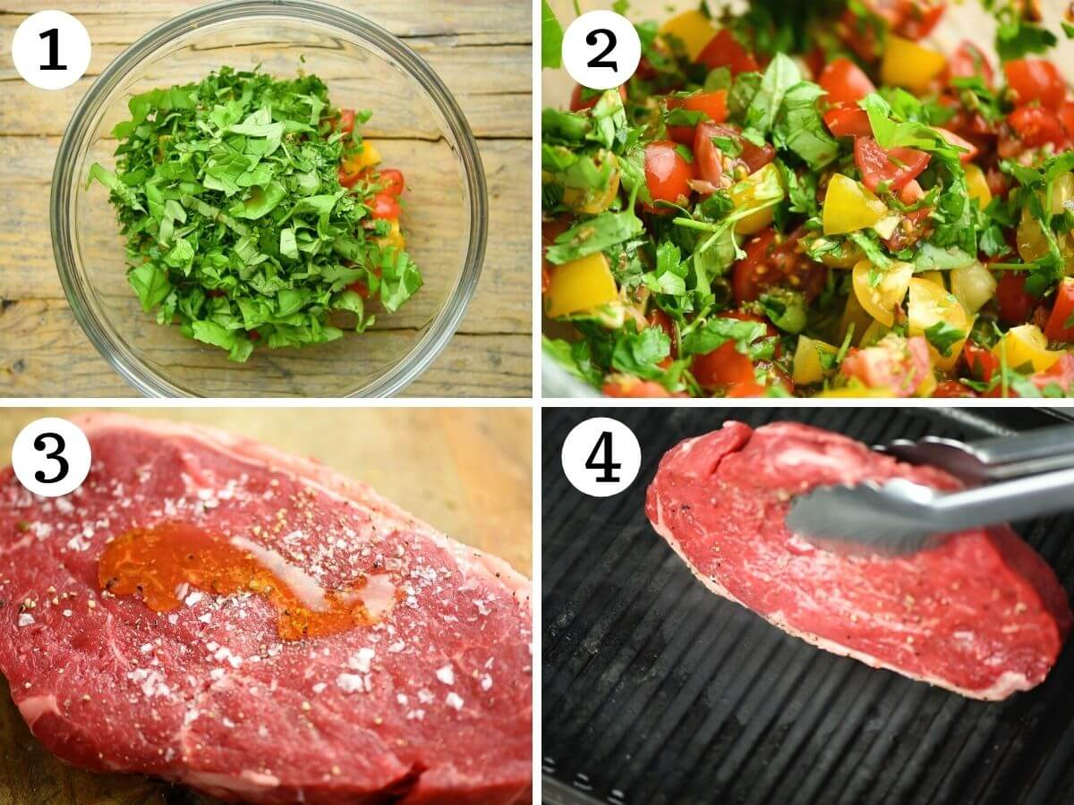 Step by step photos showing how to make tomato salad and prepare steak