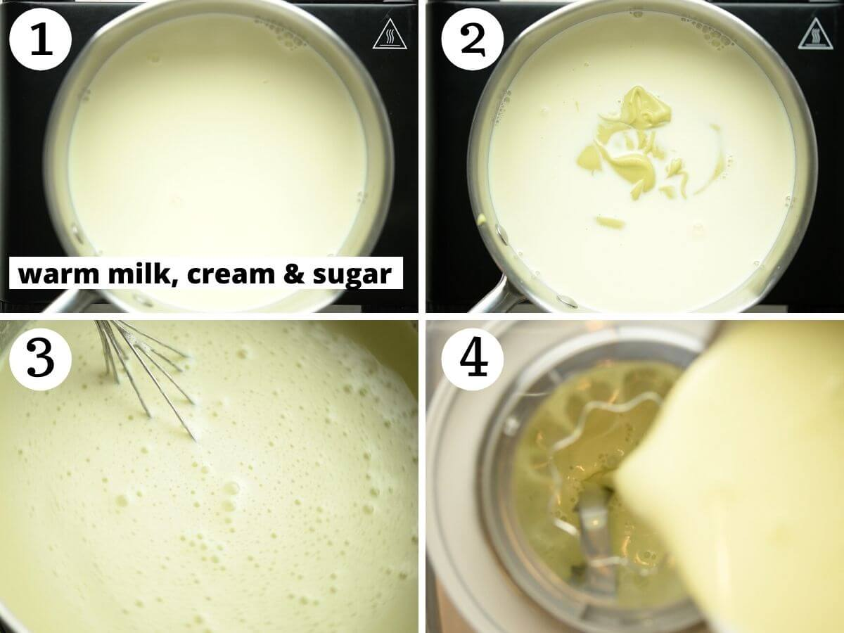 Step by step photos showing how to make pistachio ice cream