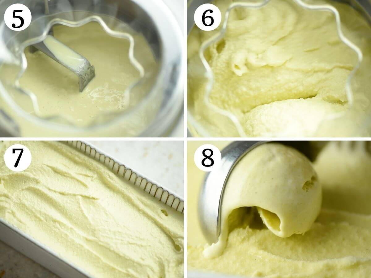 Step by step photos showing how to churn pistachio ice cream
