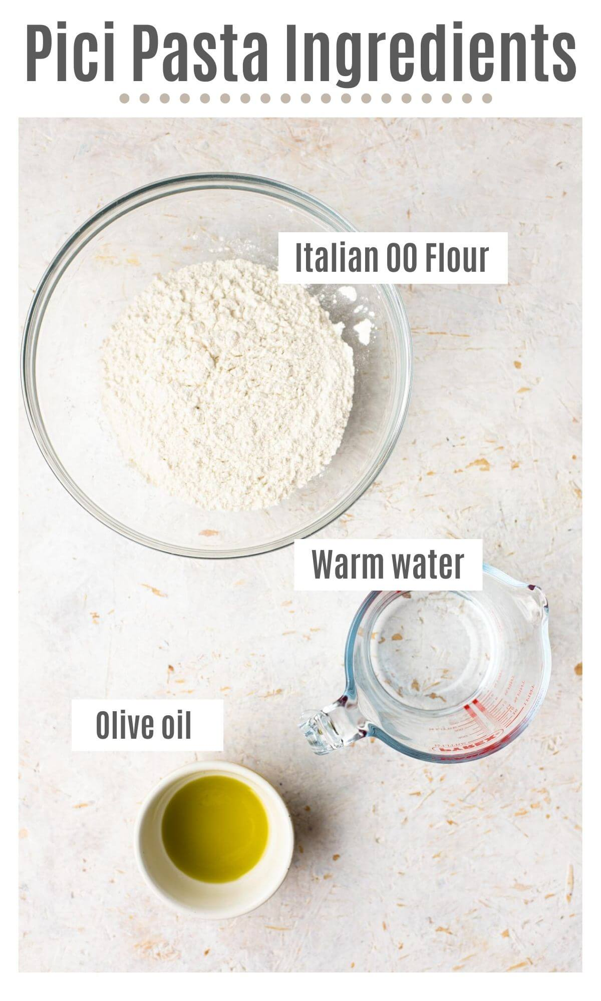 An overhead shot of all the ingredients you need to make pici pasta