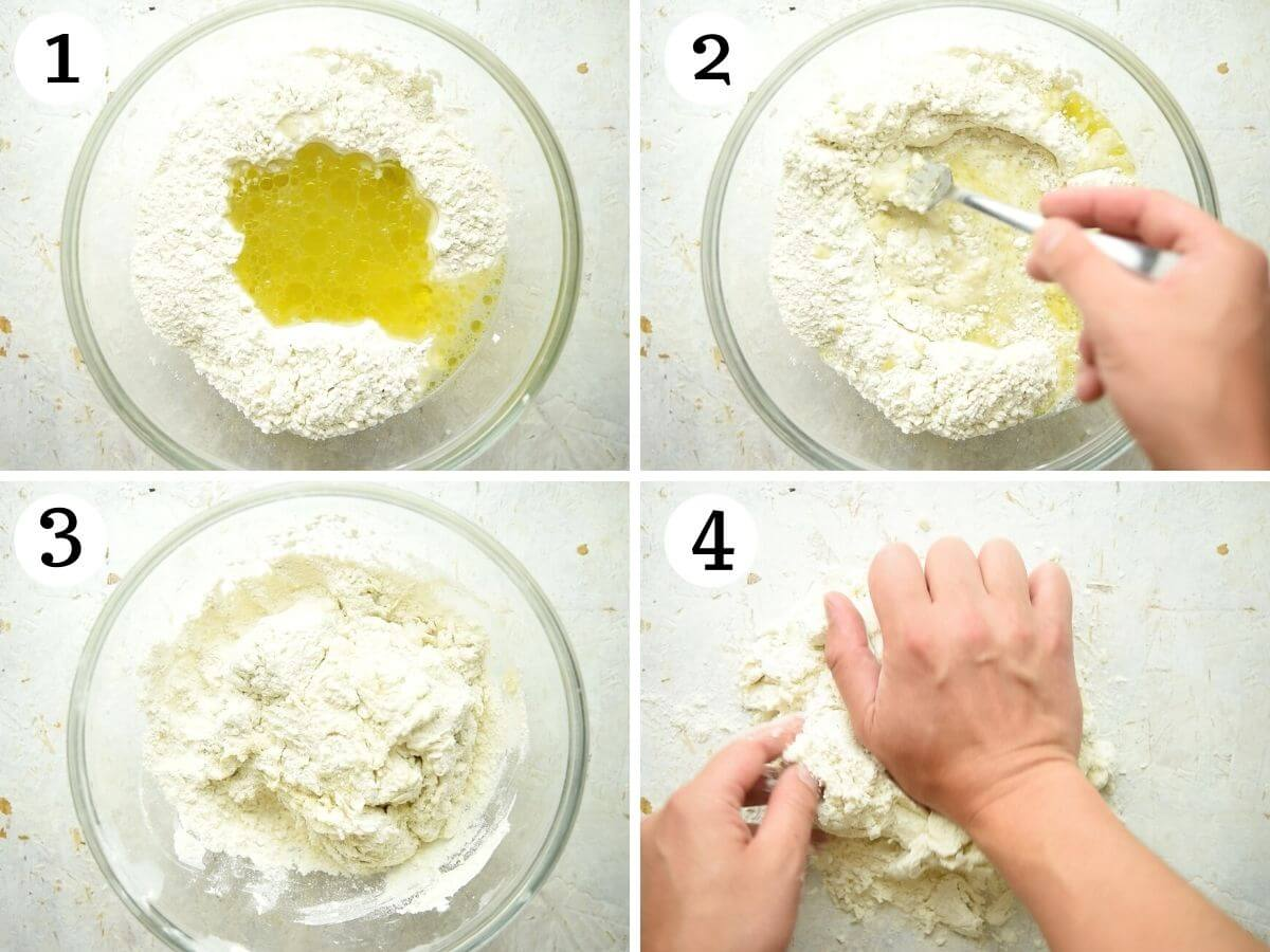 Step by step photos showing how to make pici pasta dough
