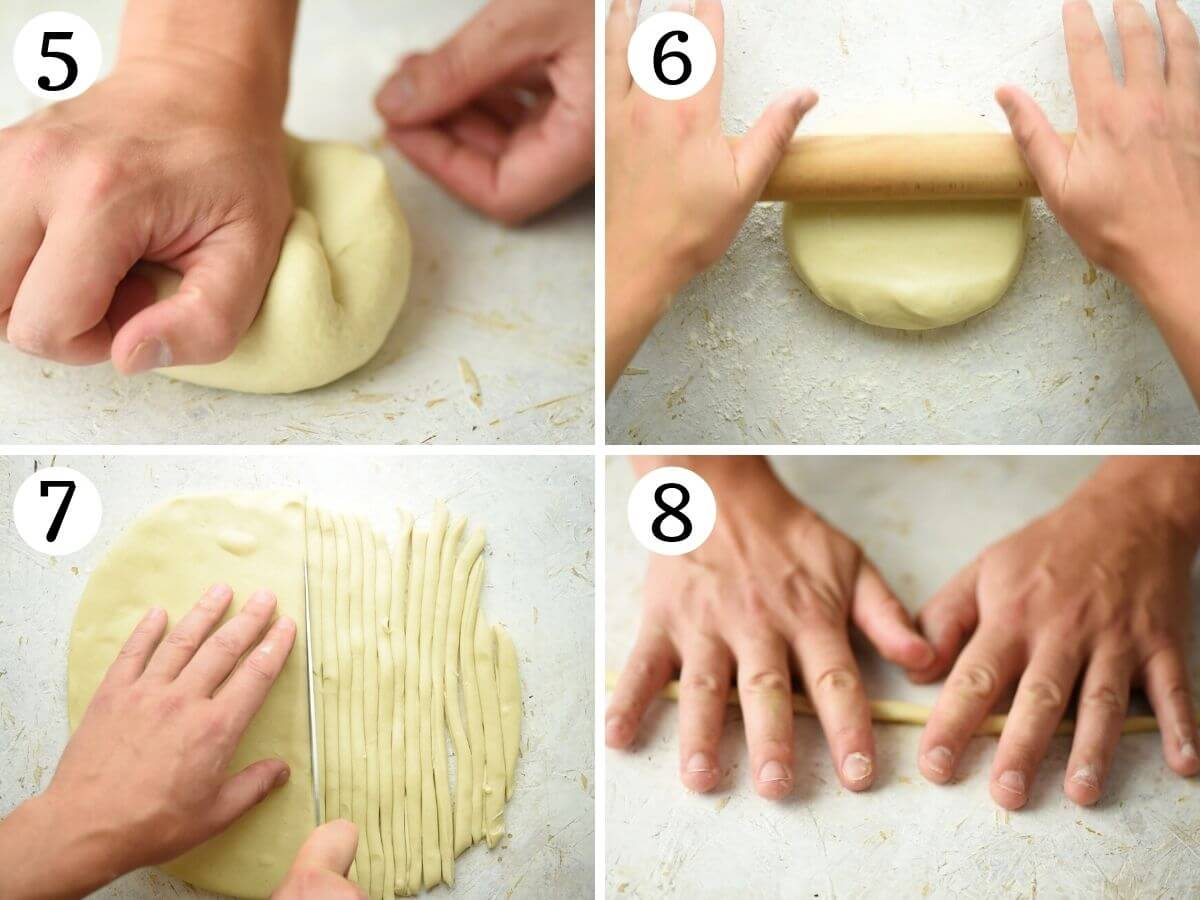 Step by step photos showing roll out pici pasta