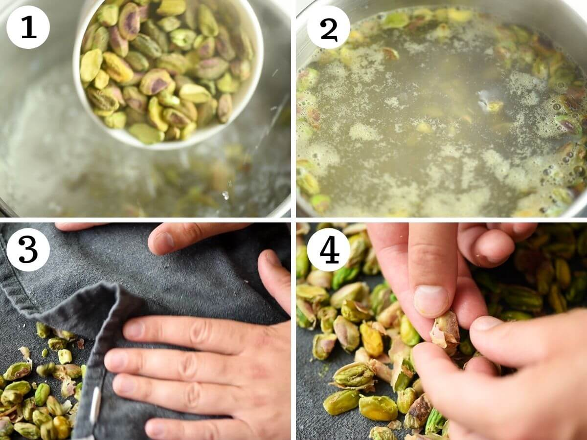 Step by step photos showing how to prepare pistachio and remove the skins