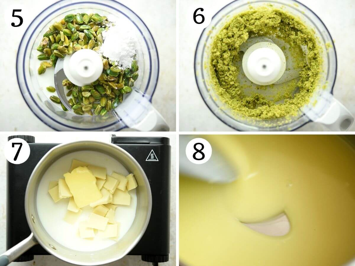 Step by step photos showing how to make pistachio cream