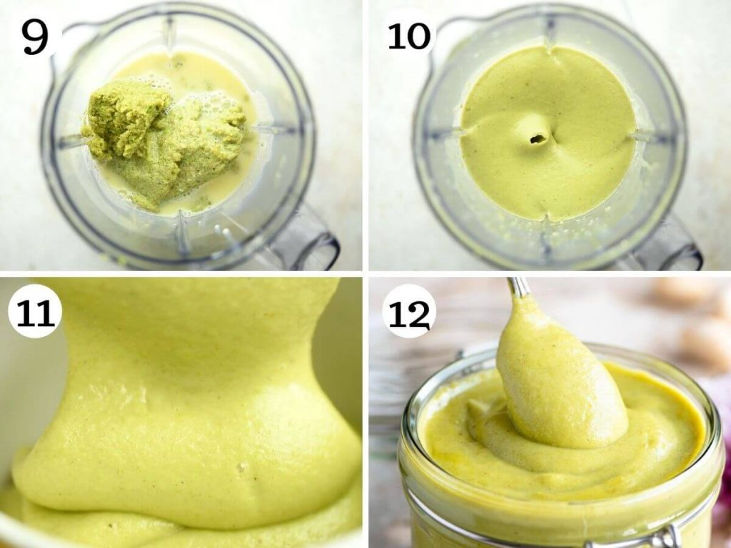 Step by step photos showing how to blitz pistachio cream for the perfect consistency