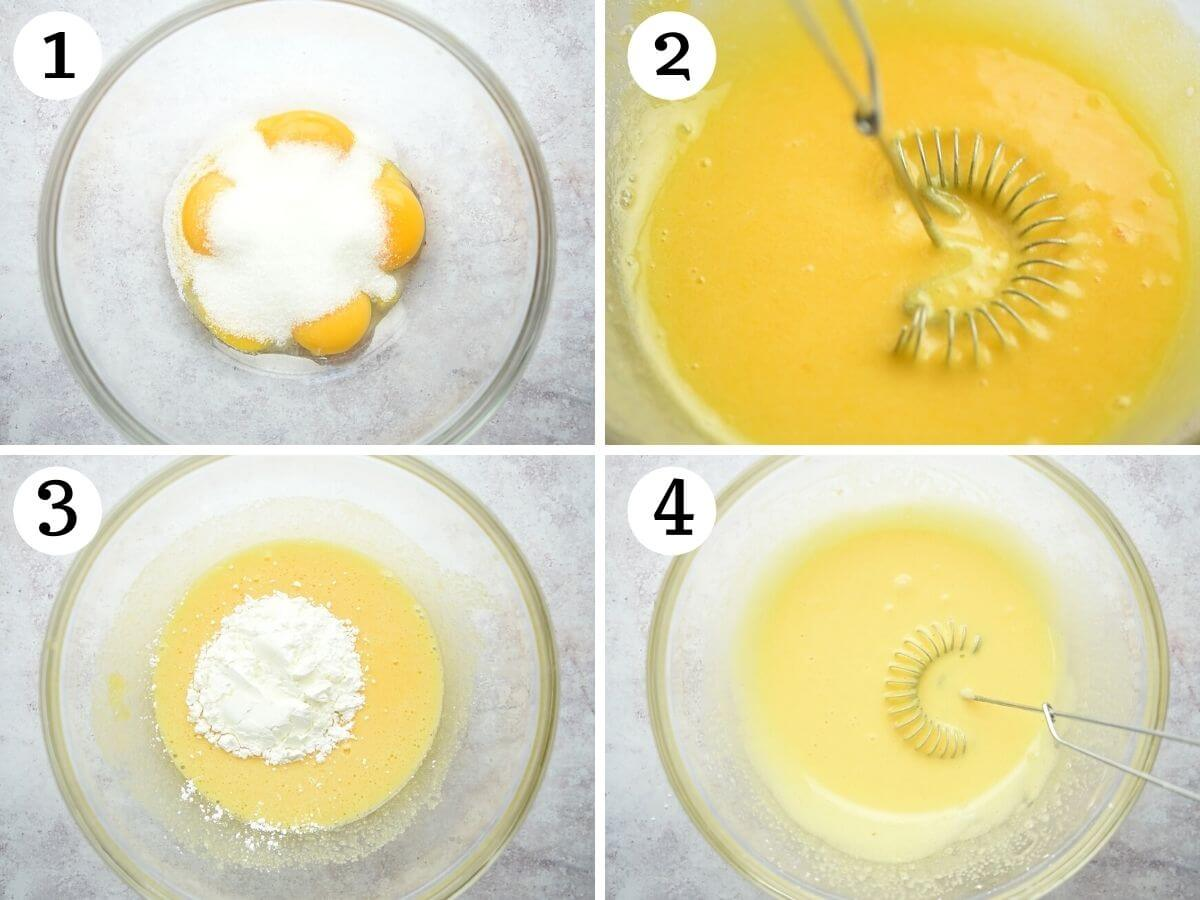 Step by step photos showing how to combine egg yolks, sugar and cornstarch