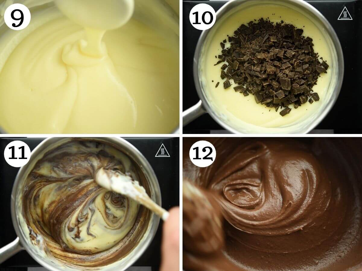 Step by step photos showing how to make chocolate pastry cream