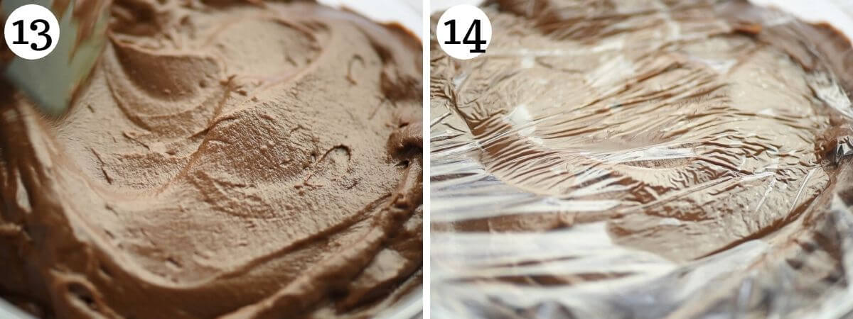 Two photos showing showing how to store chocolate pastry cream