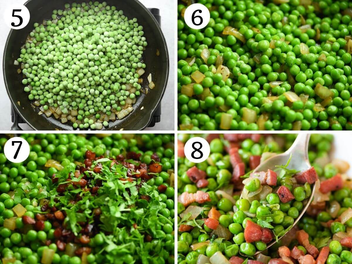 Step by step photos showing how to make peas and pancetta